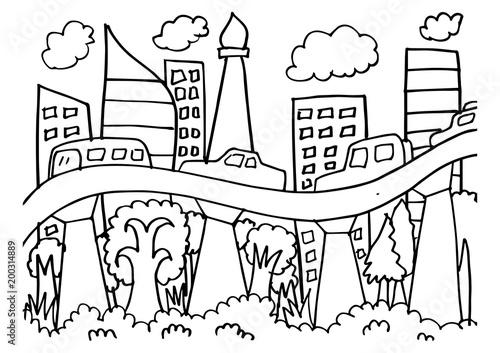 Sketch Of Jakarta Skyline