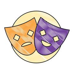 theather masks over white background, colorful design. vector illustration
