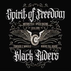 Motorcycle biker sport t-shirt emblem. Vector