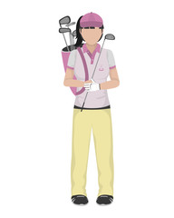woman golfer with bats inside bag and uniform