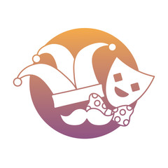 jester hat and theather mask and related icons over white background, colorful design. vector illustration