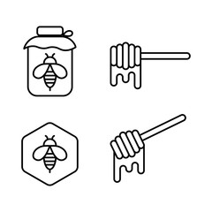honey can, honey dipper and bee icons on white background