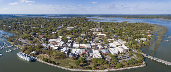 Aerial panorama of Beaufort, South Carolina with cruise ship in port.