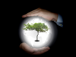 concept green world photo, man in the middle of your hands and holding the tree