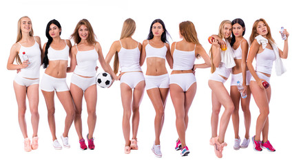 Fitness women. Three young beautiful girlfriends in white sportswear