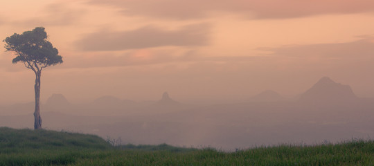 View of one tree hill on a foggy day in the Sunshine Coast.