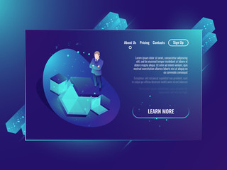 Neural network concept, development of artificial intelligence, server room, web hosting, cloud data storage isometric ultraviolet neon background