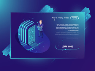 Server room, cloud storage files, futuristic data center and network, web hosting and virtual server isometric neon ultraviolet vector