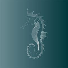 Outlined Elegant Seahorse