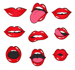 lip set.  lips and mouth vector illustration