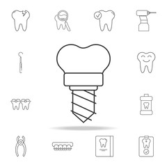 Dental implant vector icon. Detailed set of dental outline line icons. Premium quality graphic design icon. One of the collection icons for websites, web design, mobile app