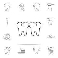 tooth braces icon. Detailed set of dental outline line icons. Premium quality graphic design icon. One of the collection icons for websites, web design, mobile app