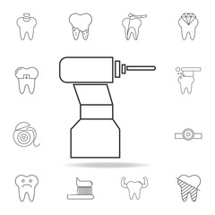 dental drill line icon. Detailed set of dental outline line icons. Premium quality graphic design icon. One of the collection icons for websites, web design, mobile app