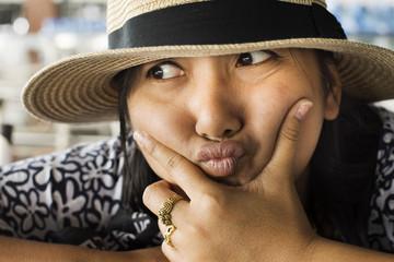 Asian thai women playful posing for take photo