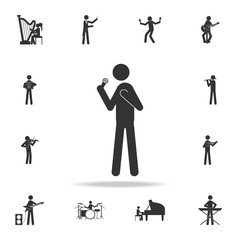 Singer with microphone icon. Detailed set of music icons. Premium quality graphic design. One of the collection icons for websites; web design; mobile app