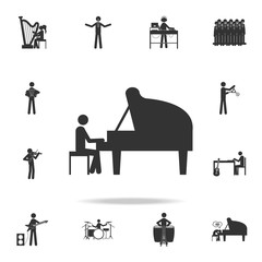 man playing piano icon. Detailed set of music icons. Premium quality graphic design. One of the collection icons for websites; web design; mobile app