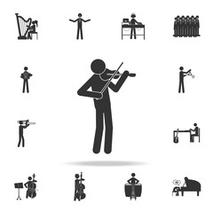 Man plays on violin icon. Detailed set of music icons. Premium quality graphic design. One of the collection icons for websites; web design; mobile app