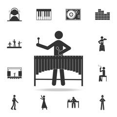 `Vibraphone marimba player icon. Detailed set of music icons. Premium quality graphic design. One of the collection icons for websites; web design; mobile app