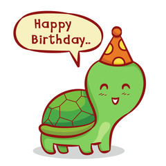 Birthday Background with Cute Turtle Hand Drawn