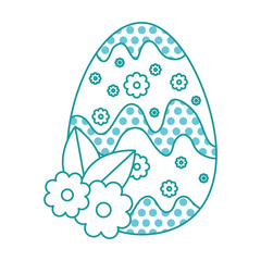 painted easter egg with floral decoration vector illustration design