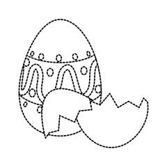 painted easter egg with broken shells celebration icon vector illustration design