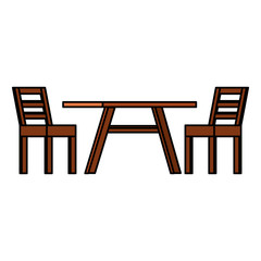 wooden table with chairs vector illustration design