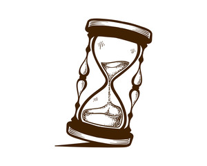 Hand Drawn Illustration of hourglass vintage awesome drawing