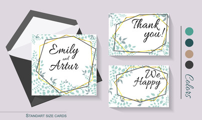 wedding invitation card greenery brown gold geometry