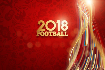Inscription 2018 Football, stylish illustration, football background. Red wallpaper. Trend background 2018. invitations, gifts, leaflets, brochures.