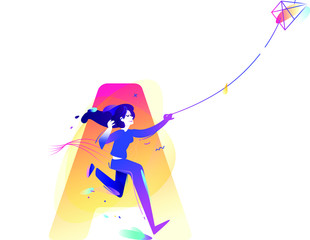 The girl is launching a kite. Start a new project, start-up. Character of a business lady. Vector illustration in a flat style. Illustration for web banner, poster and print. Company character.
