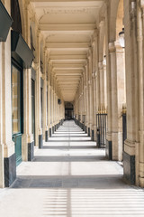 Paris, the Palais Royal gardens, perspective under the gallery