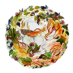 Beautiful young woman long red hair holds twigs with berries in her hands against autumn background. Concept of a girl as a autumn. Seasonal watercolor illustration. Hand painted image.