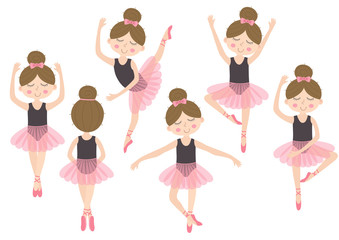 set of isolated cute ballerina girl - vector illustration, eps