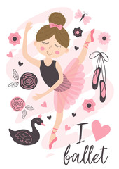 poster with beautiful ballerina girl - vector illustration, eps