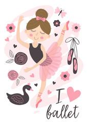 poster with beautiful ballerina girl - vector illustration, eps