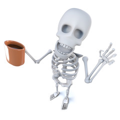 3d Funny cartoon spooky skeleton character drinking coffee from a mug