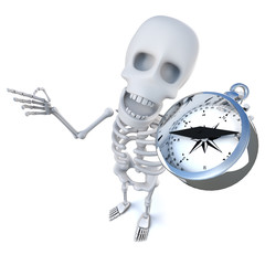 3d Funny cartoon spooky skeleton character navigating with a magnetic compass