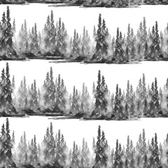 Seamless watercolor pattern, background. Black Silhouette spruce, pine, cedar, larch, abstract forest, silhouette of trees. Foggy forest