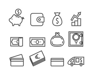 Money icon set. Editable stroke, Pixel perfect. Vector illustration for your design.