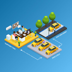 Isometric Support Taxi Service Concept