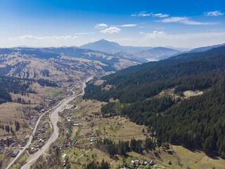 aeril view of Ceahlau mountain in Romanian Carpathians