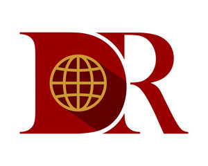 D and R red initial typography typeface typeset logotype alphabet image vector icon globe