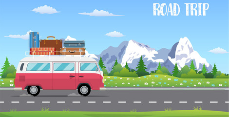 web banner on the theme of Road trip, Wall mural