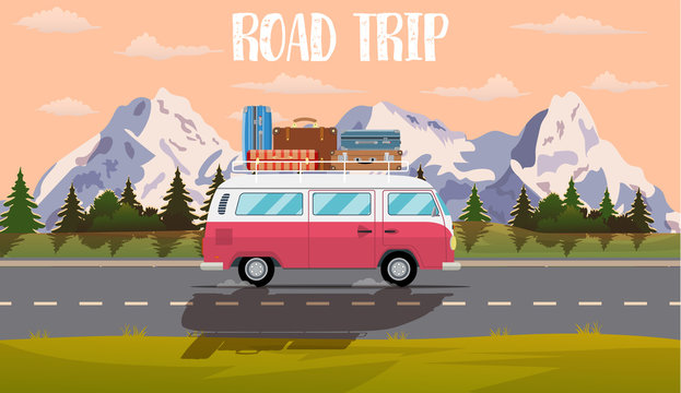 Vector flat web banner on the theme of Road trip,