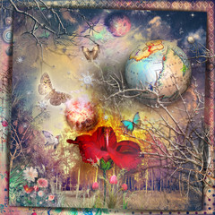 Poster Imagination The secret kingdom. Fairy and enchanted forest with red hibiscus, fantastic flowers and butterflies