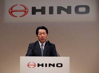 Hino Motors President Yoshio Shimo attends a joint news conference with Volkswagen Truck & Bus GmbH CEO Andreas Renschler in Tokyo