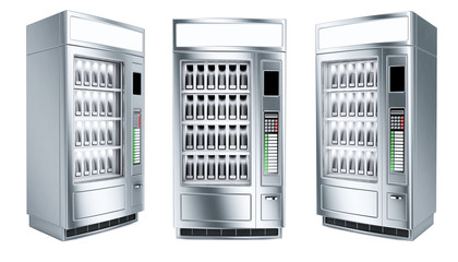 Vending machine set on white background. 3d render