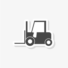 Forklift sticker, Forklift truck silhouette, simple vector icon