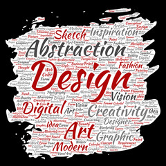 Vector conceptual creativity art graphic identity design visual paint brush paper word cloud isolated background. Collage of advertising, decorative, fashion, inspiration, vision, perspective modeling