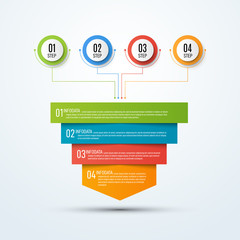 Abstract vector infographics. Business data visualization. Template for presentation. Sales funnel 3d illustration.